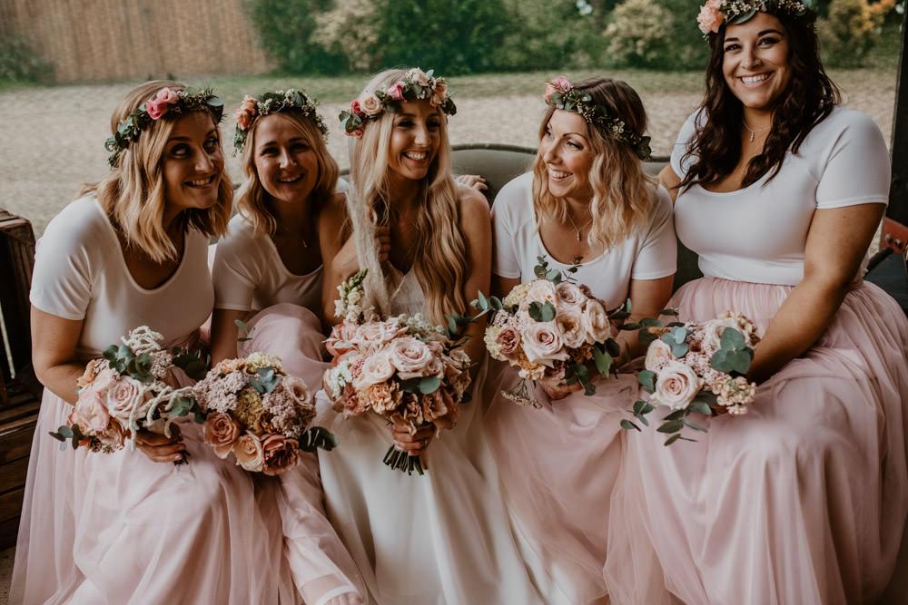 Bridesmaids Bridesmaid Dress Dresses Pink Skirt Top Whimsical Boho Wedding Camilla Andrea Photography