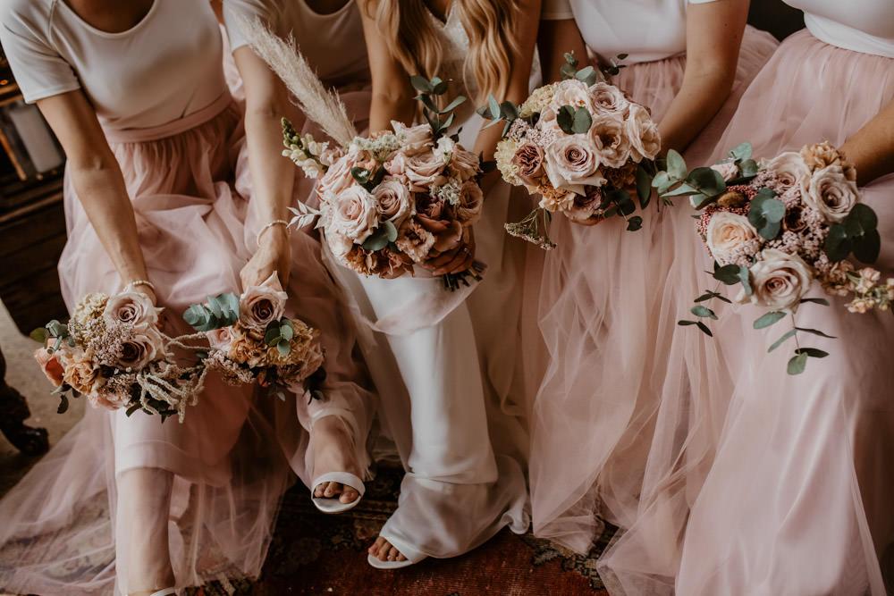 Bouquet Flowers Bride Bridal Bridesmaid Pink Rose Whimsical Boho Wedding Camilla Andrea Photography