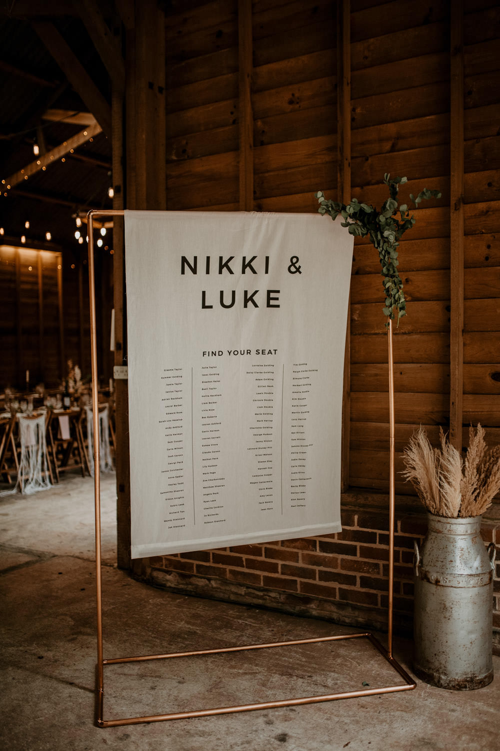 Table Plan Seating Chart Banner Copper Pipe Frame Whimsical Boho Wedding Camilla Andrea Photography