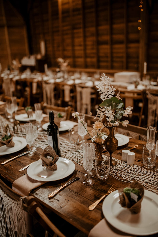 Table Decor Rustic Macrame Bottle Flowers Long Tables Whimsical Boho Wedding Camilla Andrea Photography
