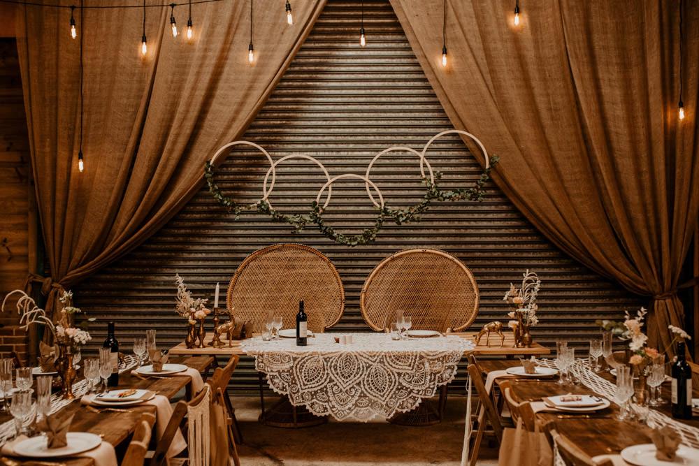 Top Table Backdrop Hoops Peacock Chairs Whimsical Boho Wedding Camilla Andrea Photography