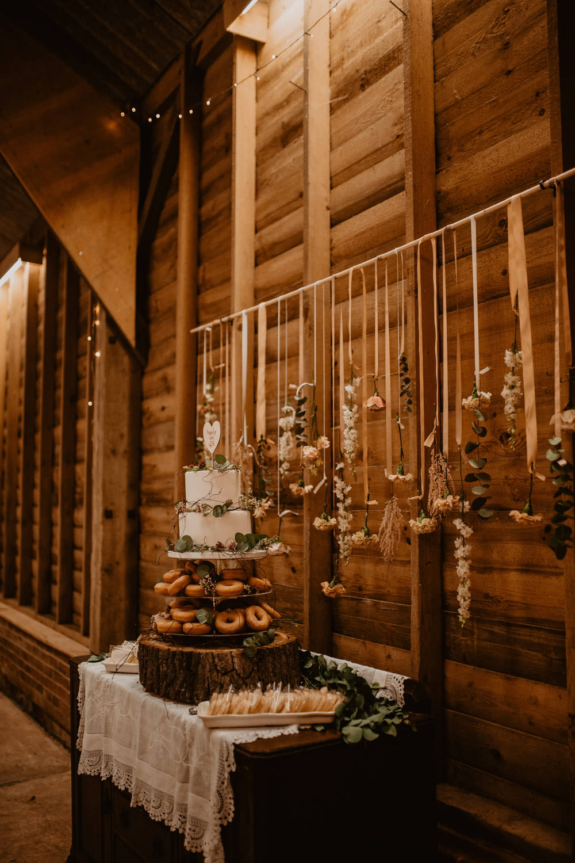 Cake Table Backdrop Donuts Whimsical Boho Wedding Camilla Andrea Photography