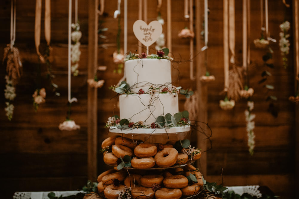 Cake Table Backdrop Donuts Heart Topper Whimsical Boho Wedding Camilla Andrea Photography