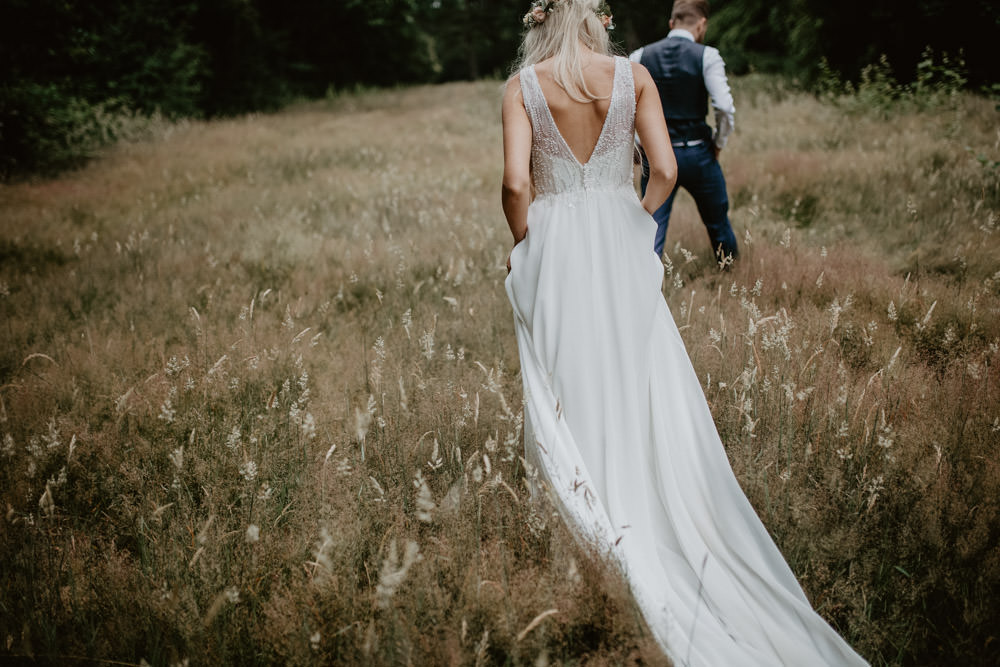 Bride Bridal Dress Gown Justin Alexander Flower Crown Whimsical Boho Wedding Camilla Andrea Photography