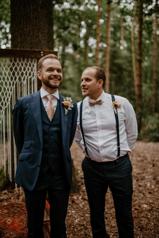 Groom Suit Navy Pink Tie Groomsmen Bow Tie Braces Whimsical Boho Wedding Camilla Andrea Photography
