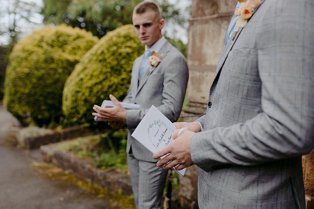 Groomsmen Suits Grey Blue Tie Belbroughton Church Hall Wedding Faye Green Photo