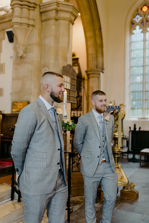 Groomsmen Suits Grey Blue Tie Groom Belbroughton Church Hall Wedding Faye Green Photo