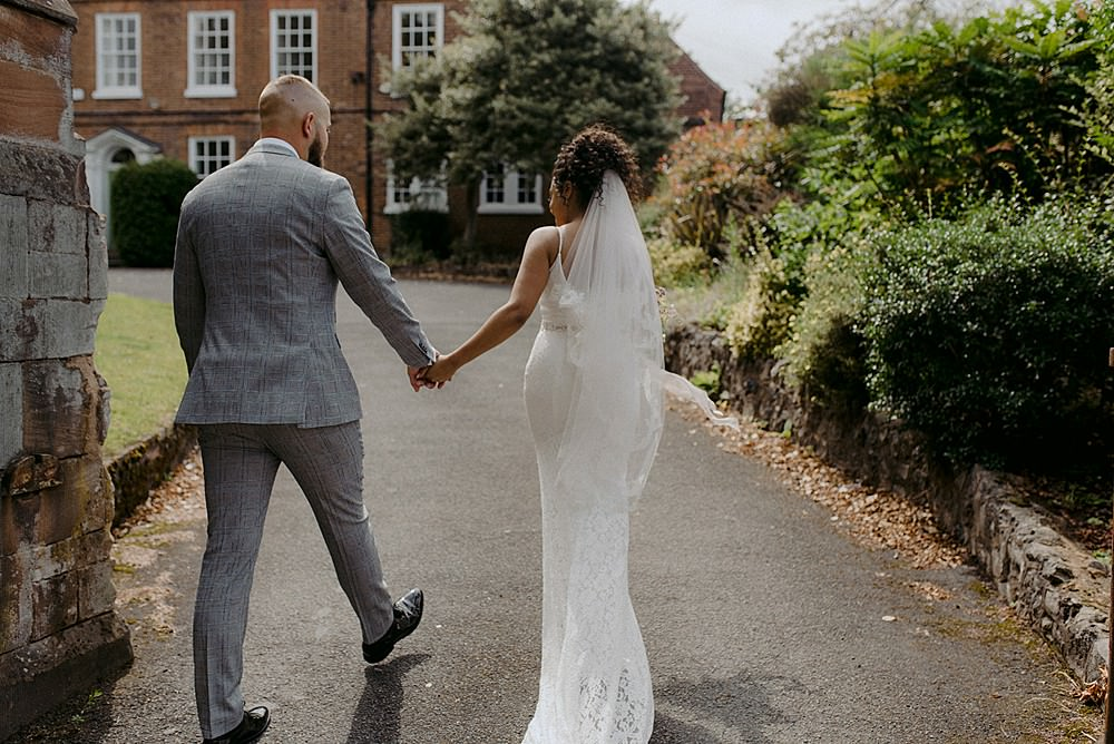 Bride Bridal Dress Gown Wed2B Straps Train Fit Flare Lace Veil Belbroughton Church Hall Wedding Faye Green Photo