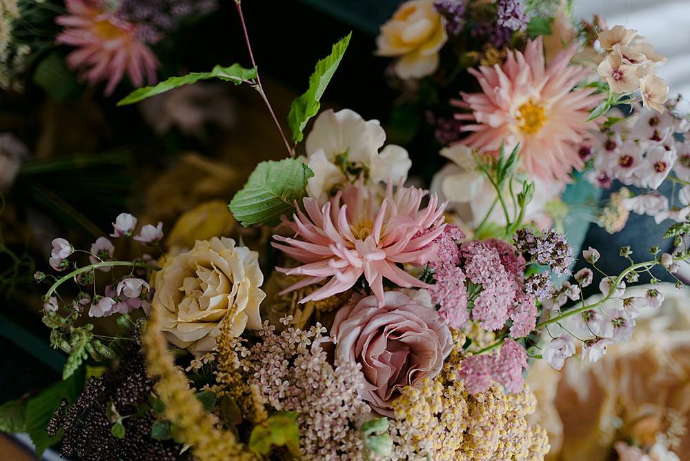 Bouquets Flowers Pretty Pink Bride Bridal Bridesmaid Belbroughton Church Hall Wedding Faye Green Photo