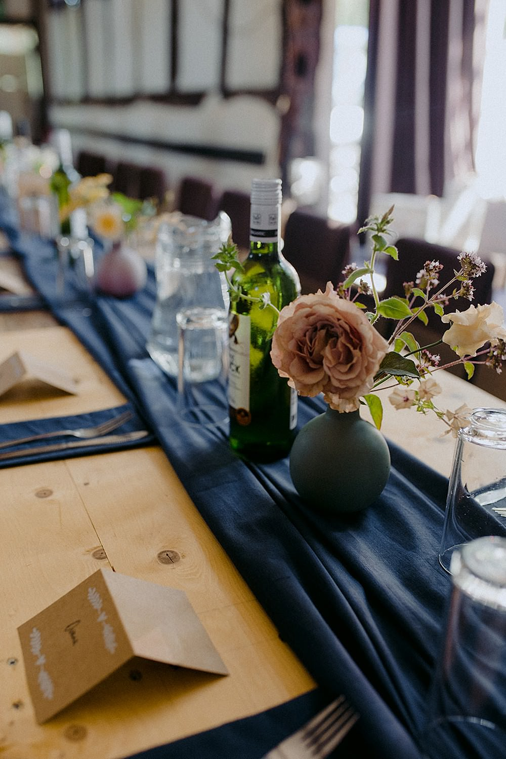 Rustic Wooden Table Runner Blue Cloth Flowers Roses Belbroughton Church Hall Wedding Faye Green Photo