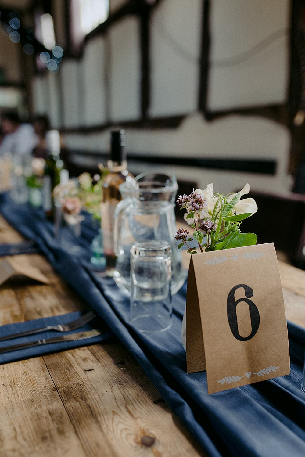Rustic Wooden Table Runner Blue Cloth Flowers Roses Table Name Belbroughton Church Hall Wedding Faye Green Photo