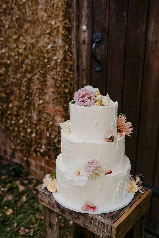 Buttercream Cake Flowers Floral Rustic Belbroughton Church Hall Wedding Faye Green Photo