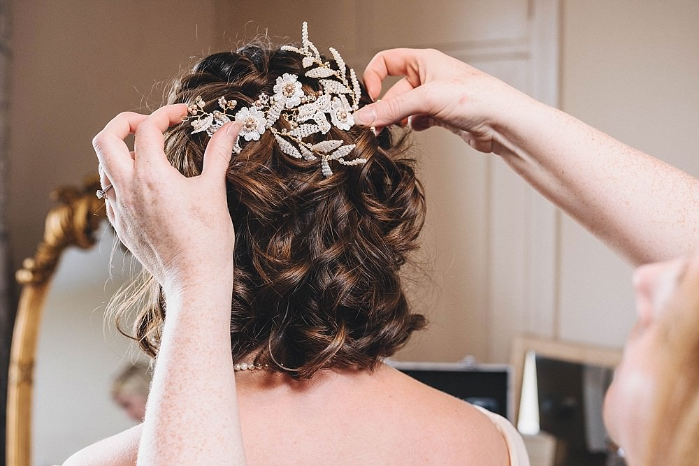 Bride Bridal Hair Short Accessory Broadfield Court Wedding Marta May Photography