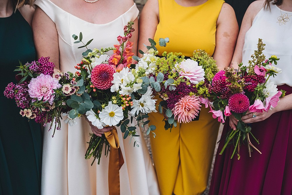 Bouquet Flowers Bride Bridal Bridesmaids Dahlia Stocks Broadfield Court Wedding Marta May Photography