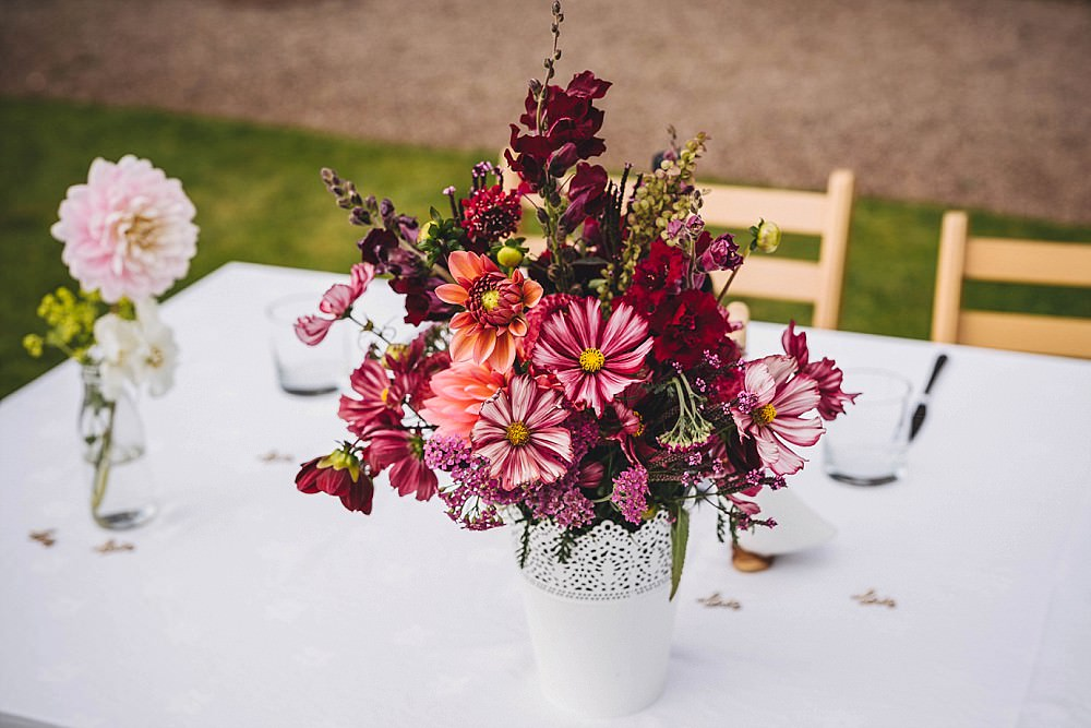 Table Flowers Red Burgundy Centrepiece Dahlia Broadfield Court Wedding Marta May Photography