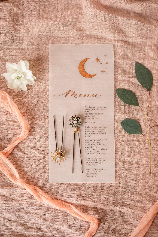 Moon Glassine Stationery Menu Celestial Wedding Inspiration Becky Harley Photography