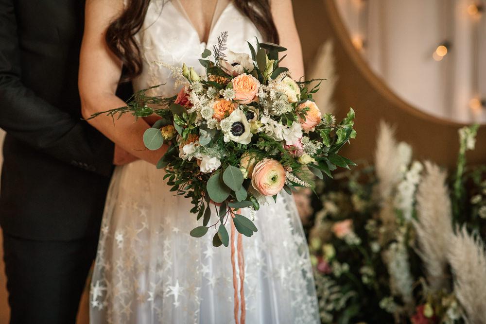 Bouquet Flowers Bride Bridal Pink White Rose Ranunculus Astrantia Celestial Wedding Inspiration Becky Harley Photography