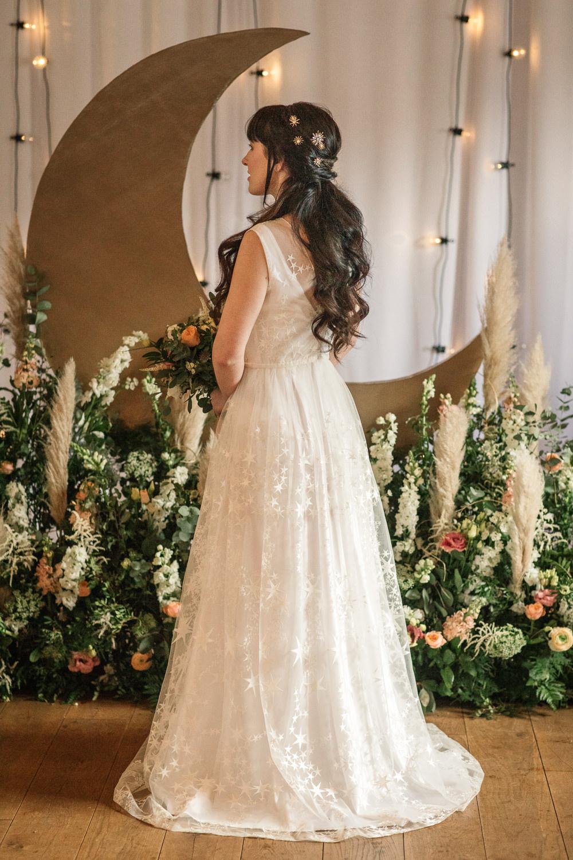 Dress Gown Bride Bridal Stars Maudika Bridal Celestial Wedding Inspiration Becky Harley Photography