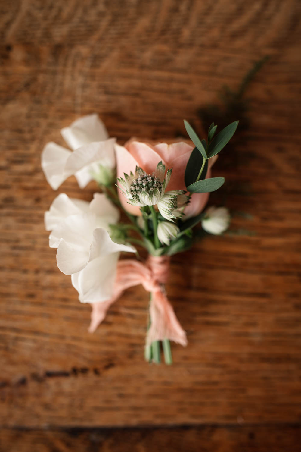 Buttonhole Flowers Pink White Celestial Wedding Inspiration Becky Harley Photography