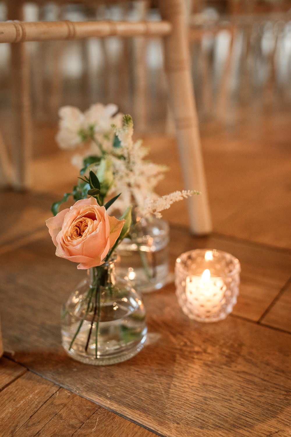 Bottle Flowers Candles Pew End Aisle Celestial Wedding Inspiration Becky Harley Photography