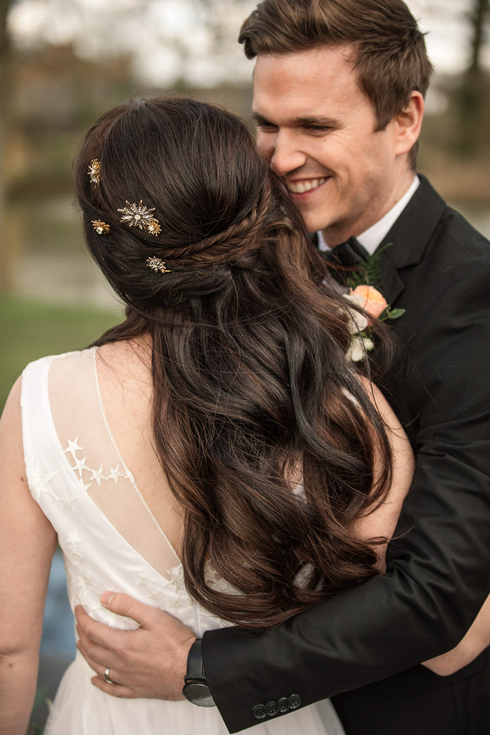 Bride Bridal Hair Style Up Do Waves Pins Accessories Celestial Wedding Inspiration Becky Harley Photography