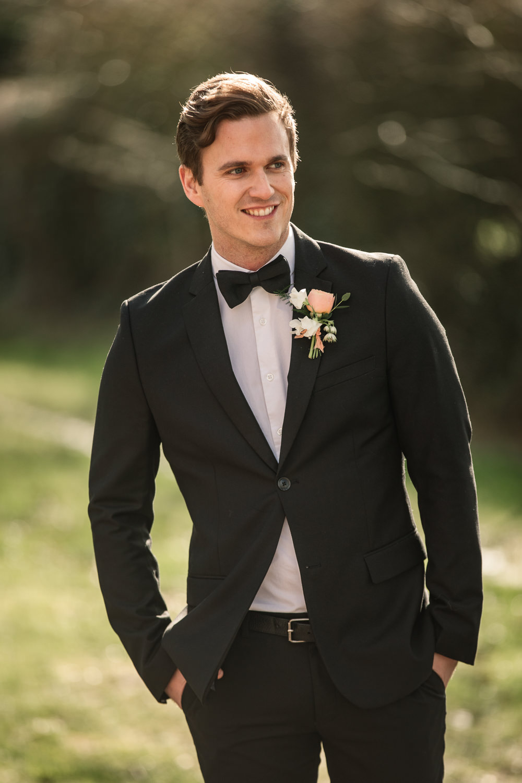 Groom Suit Tux Tuxedo Bow Tie Celestial Wedding Inspiration Becky Harley Photography