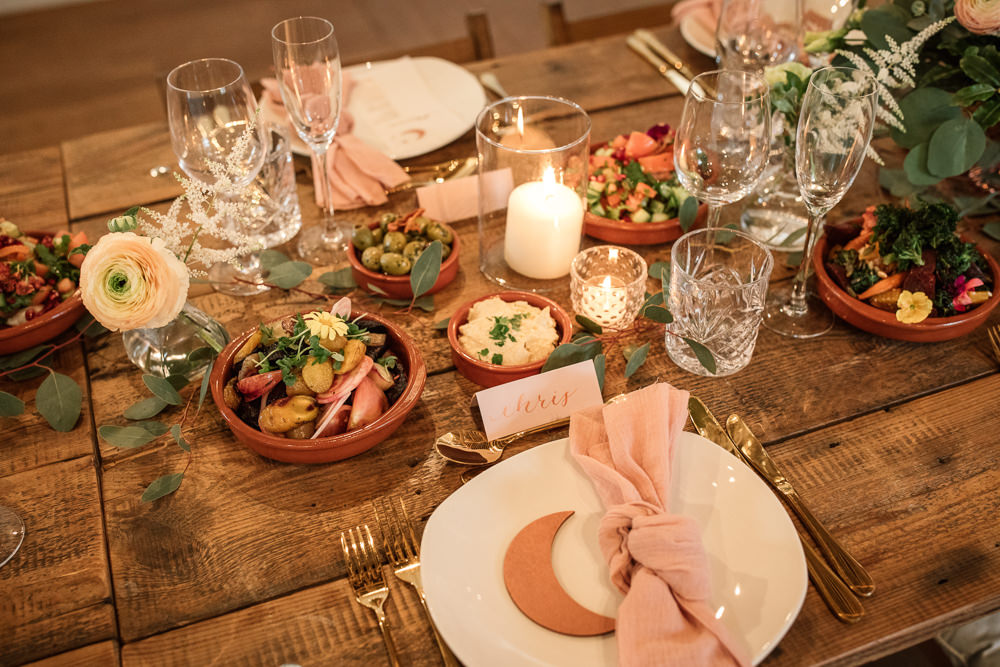 Table Tablescape Long Table Flowers Candles Food Grazing Sharing Platter Celestial Wedding Inspiration Becky Harley Photography