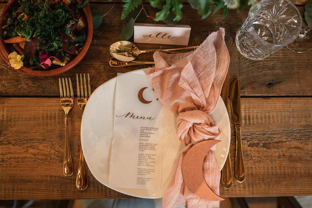 Moon Glassine Stationery Menu Place Setting Celestial Wedding Inspiration Becky Harley Photography