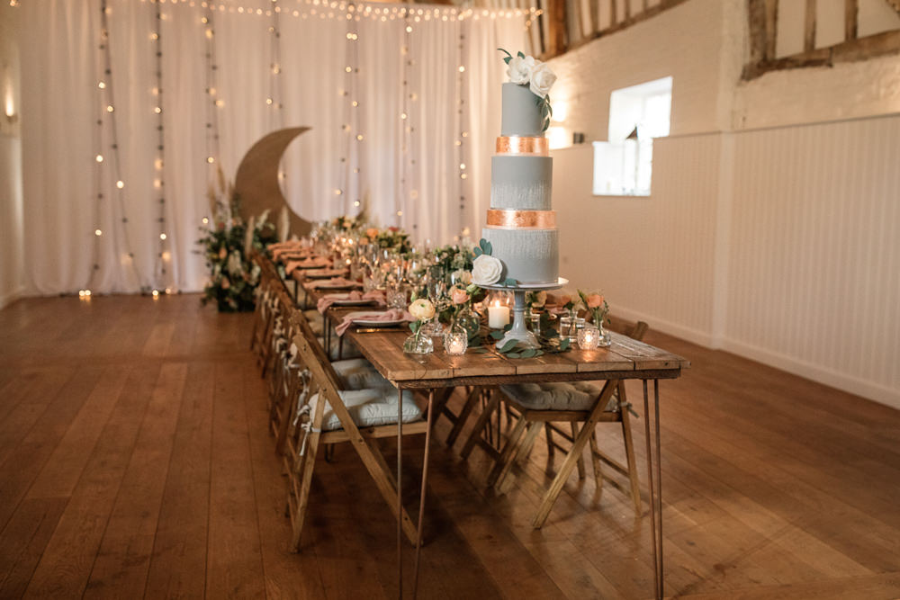 Table Tablescape Long Table Flowers Candles Moon Backdrop Celestial Wedding Inspiration Becky Harley Photography