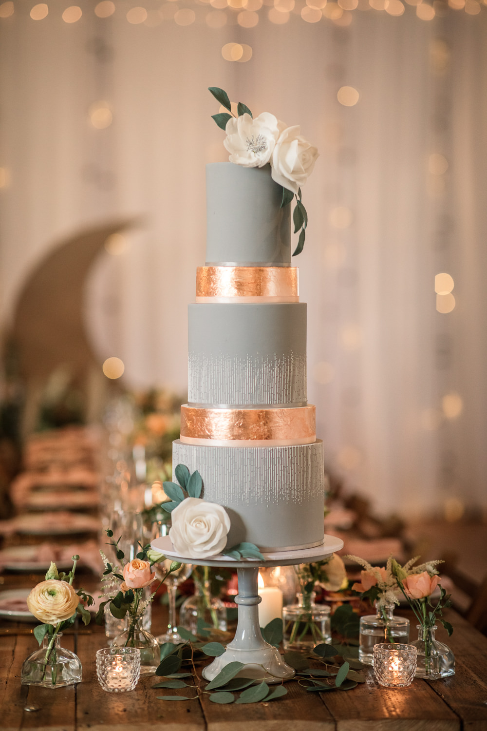 Blue Gold Cake Flowers Floral Candles Celestial Wedding Inspiration Becky Harley Photography