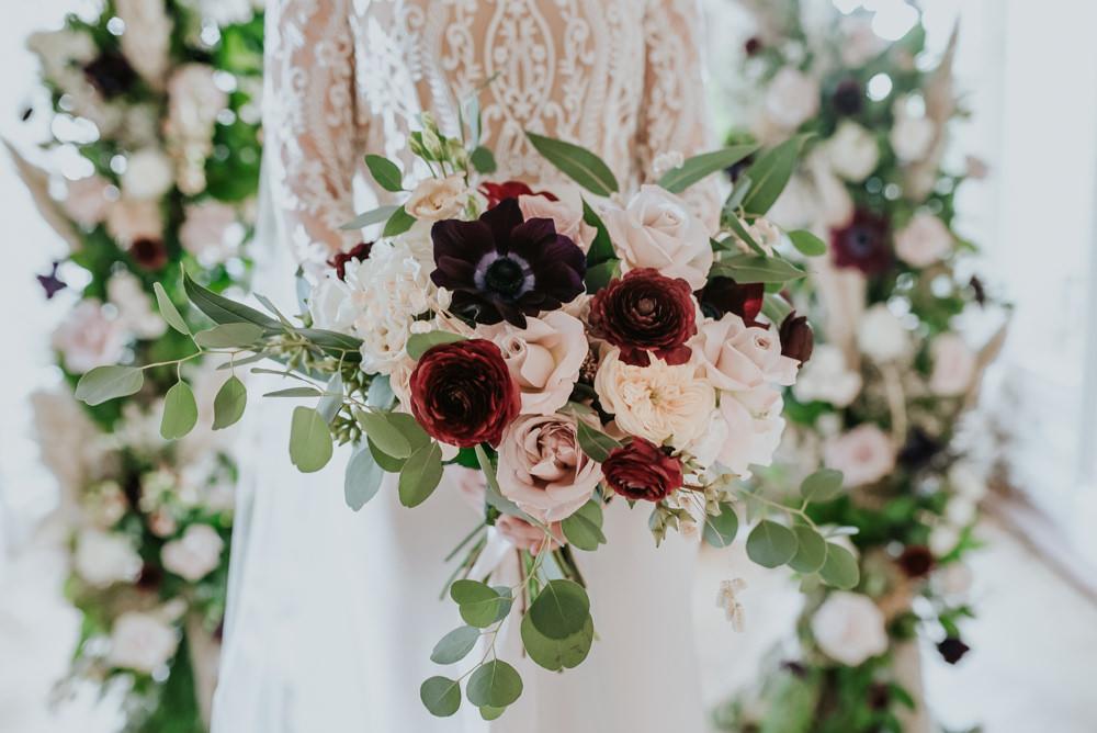 Bride Bridal Bouquet Flowers Dahlia Eucalyptus Chippenham Park Wedding Daniel Ackerley Photography