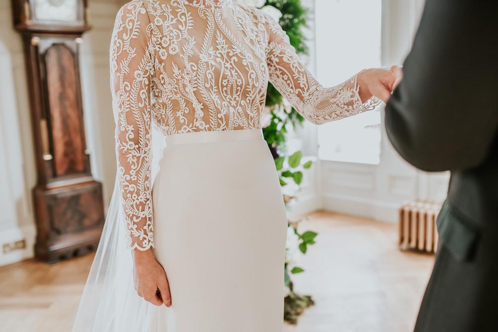Dress Gown Bride Bridal Lace Sleeves Top Veil Lara B Bridal Chippenham Park Wedding Daniel Ackerley Photography