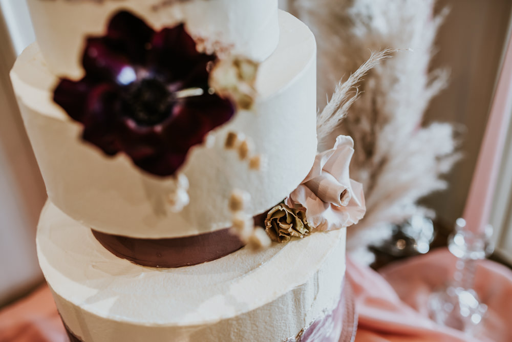 Cake Painted Hoop Table Decor Backdrop Pampas Grass Chippenham Park Wedding Daniel Ackerley Photography
