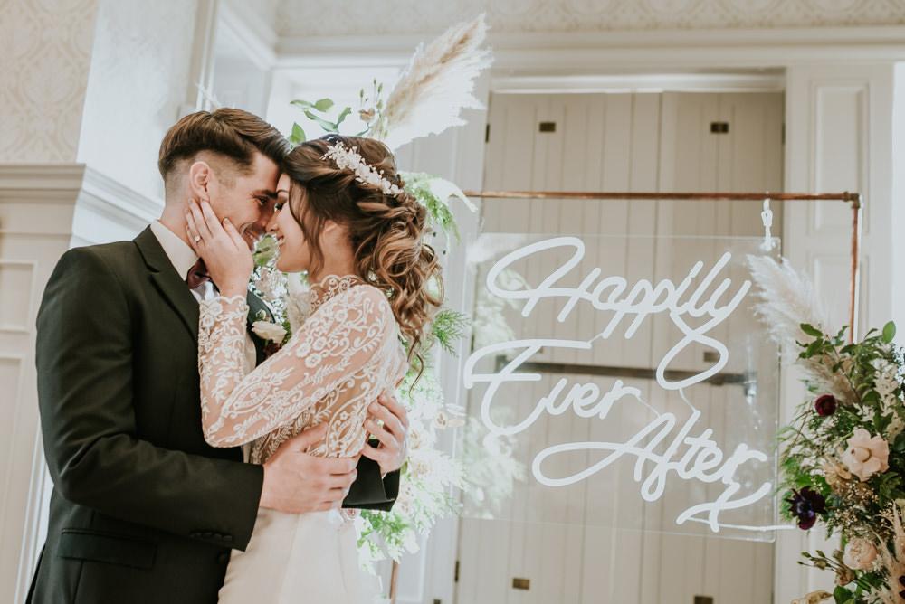 Flower Arch Backdrop Ceremony Neon Sign Light Chippenham Park Wedding Daniel Ackerley Photography