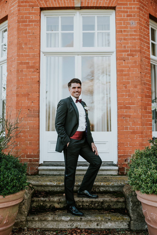 Groom Suit Tux Tuxedo Bow Tie Chippenham Park Wedding Daniel Ackerley Photography