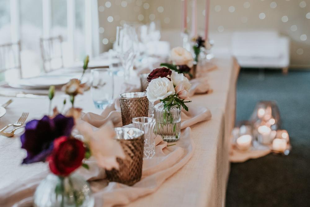 Table Flowers Pink Red Decor Chippenham Park Wedding Daniel Ackerley Photography