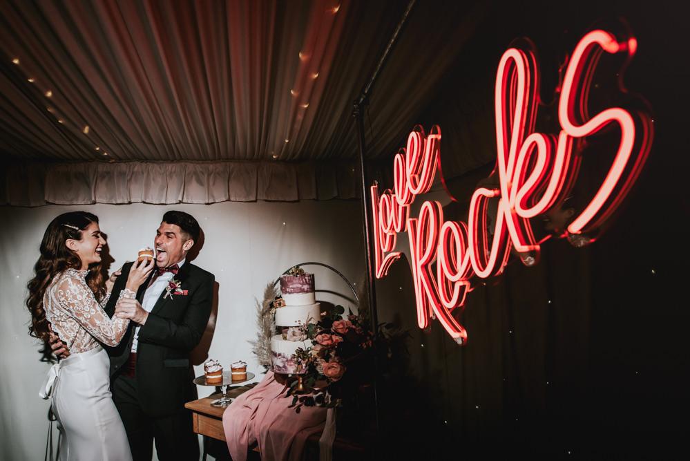 Neon Sign Light Chippenham Park Wedding Daniel Ackerley Photography