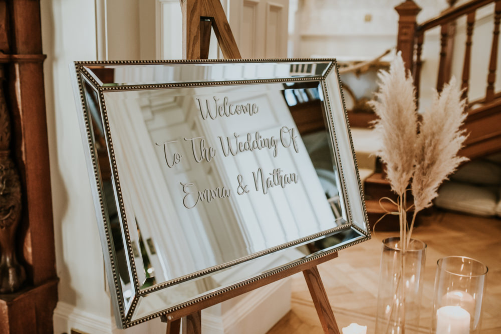 Welcome Sign Signs Signage Mirror Chippenham Park Wedding Daniel Ackerley Photography