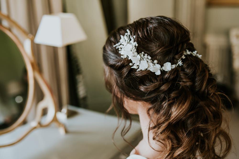 Bride Bridal Hair Style Up Do Accessory Chippenham Park Wedding Daniel Ackerley Photography