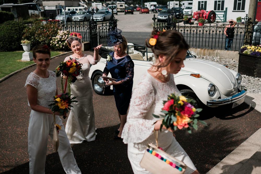 Bridesmaids Bridesmaid Dress Dresses White Mismatched Glenarm Castle Wedding Jonathan Ryder Photography
