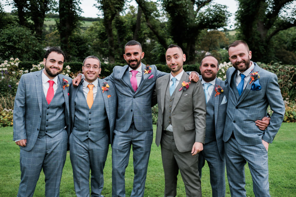 Groom Suit Grey Colourful Ties Groomsmen Glenarm Castle Wedding Jonathan Ryder Photography