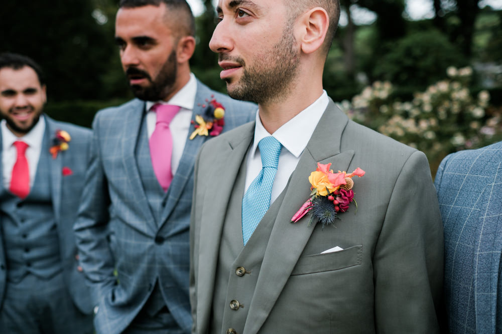 Groom Suit Grey Buttonhole Flowers Glenarm Castle Wedding Jonathan Ryder Photography