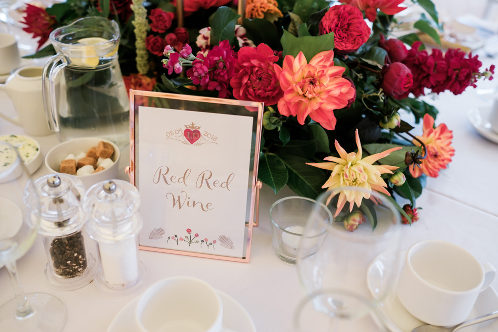 Centrepiece Flowers Colourful Decor Glenarm Castle Wedding Jonathan Ryder Photography