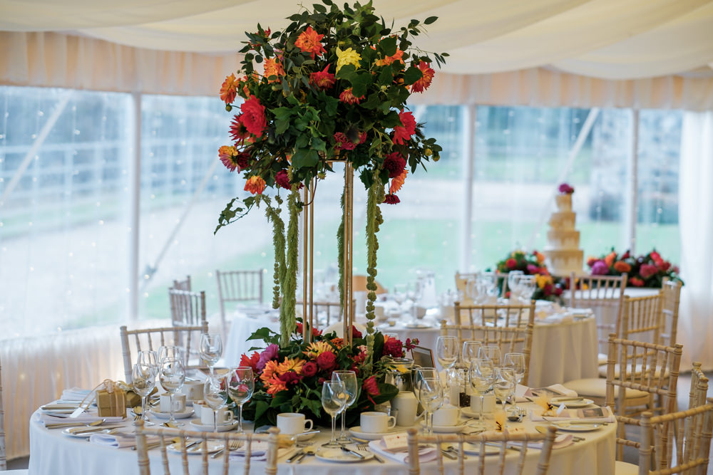 Centrepiece Flowers Colourful Decor Tall Glenarm Castle Wedding Jonathan Ryder Photography