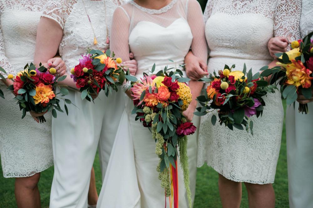 Bride Bridal Bouquet Flowers Colourful Red Orange Yellow Glenarm Castle Wedding Jonathan Ryder Photography