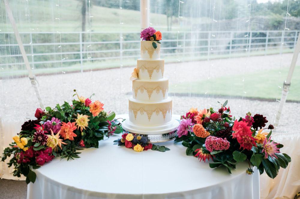 Cake Table Flowers Glenarm Castle Wedding Jonathan Ryder Photography