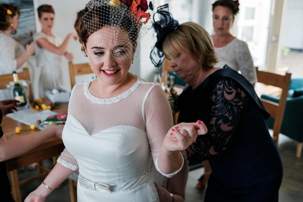 Bride Bridal Dress Gown Fitted Belt Sleeves Glenarm Castle Wedding Jonathan Ryder Photography