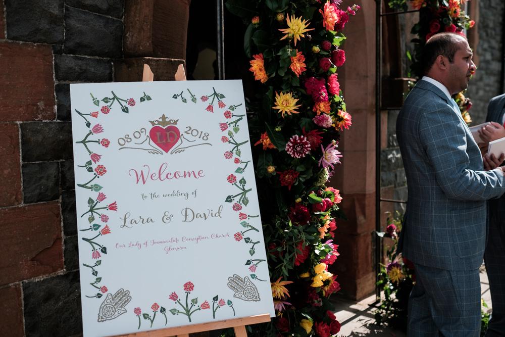 Welcome Sign Signs Signage Glenarm Castle Wedding Jonathan Ryder Photography