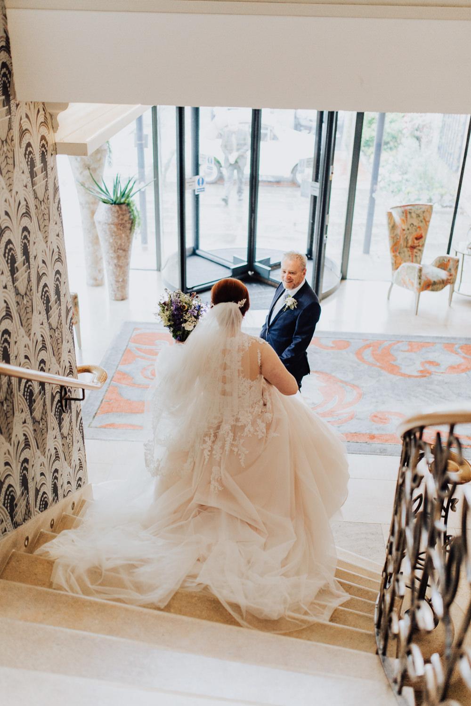 Dress Gown Bride Bridal Train Veil Rebecca Ingram Blush Homemade Wedding Wyldbee Photography