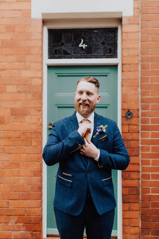 Groom Suit Blue Yellow Tie Homemade Wedding Wyldbee Photography